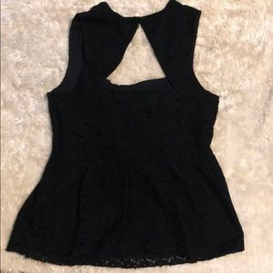 Anthropologie Tops - Anthropologie black lace  peplum top, size 12